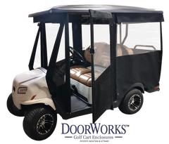 4 Penger Hinged DoorWorks Golf Cart Enclosures on ez go golf logo, bad boy golf logo, club car golf logo, john deere golf logo,