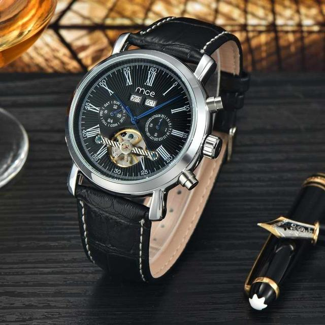Luxury Mechanical With Power Reserve and Leather Band Watch - The Fine Man Shop