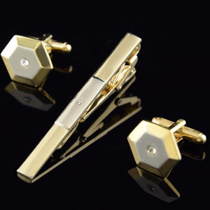 Double color Cuff Link with Tie clip - The Fine Man Shop