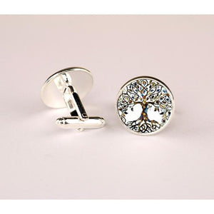 Gorgeous Tree of life Pattern Cufflinks made from Silver and Bronze Plated - The Fine Man Shop
