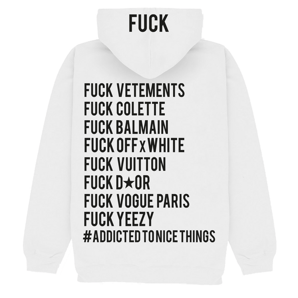SWEAT CAPUCHE BLANC FUCK