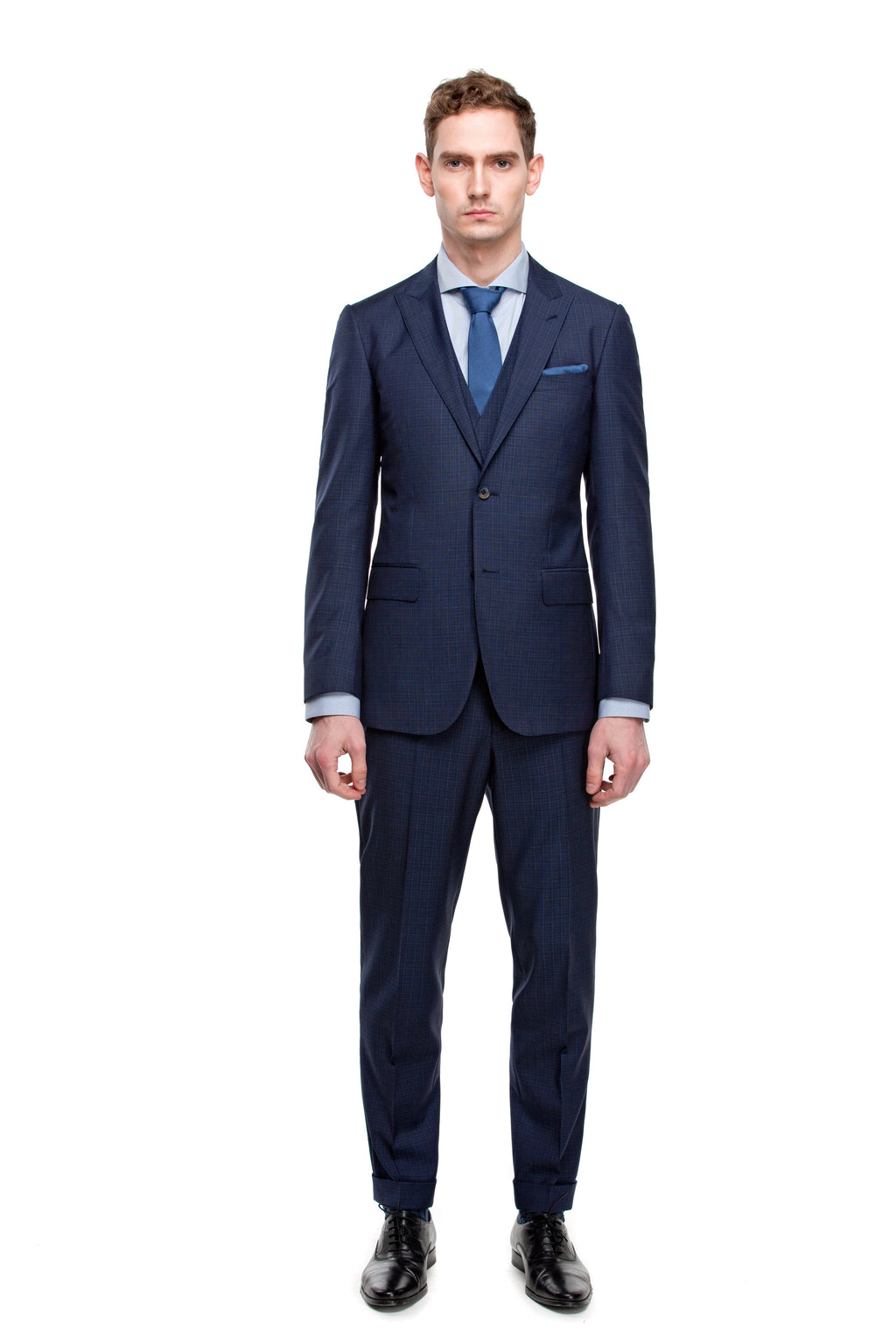 Custom Half Canvas Navy Three Piece Suit - ottotos