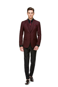 Custom Burgundy & Black Suit ottotos 3 pcs