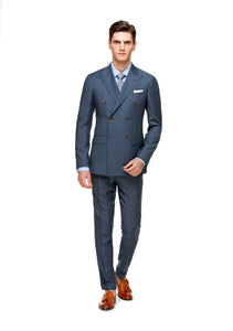 Custom Uptown Light Blue Half Canvas Three Piece Suit - ottotos