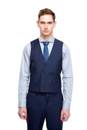 Custom Navy Blue V Standard Shape Vest