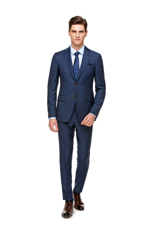 Custom Blue Half Canvas Signature Suit - ottotos
