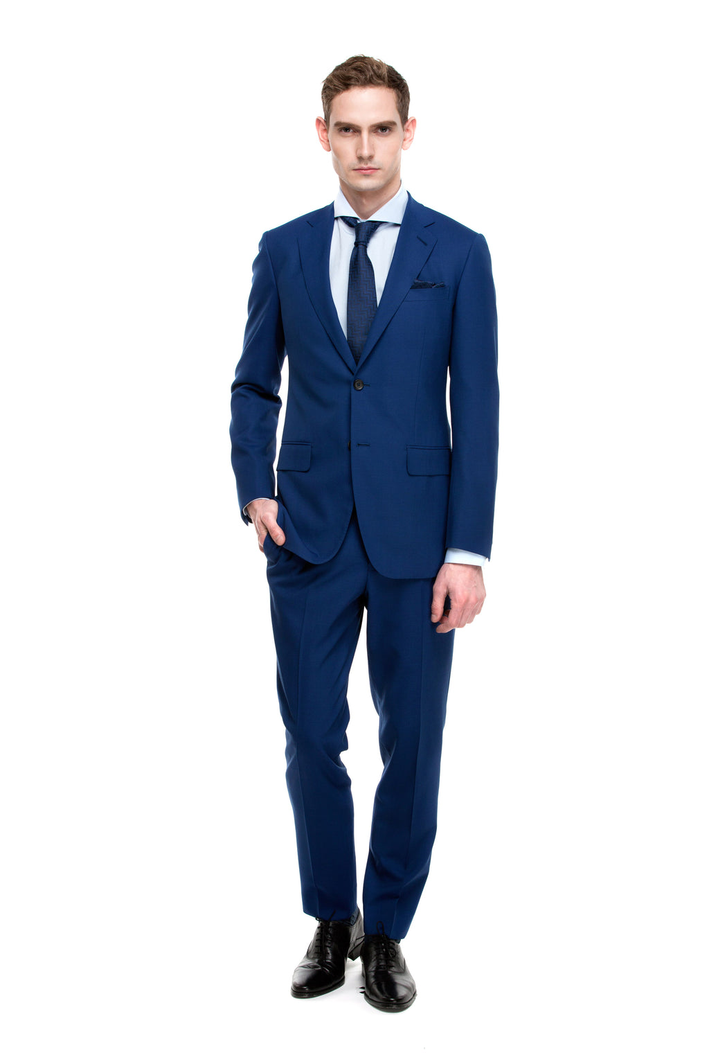 Custom Navy Blue Half Canvas Signature Suit - ottotos