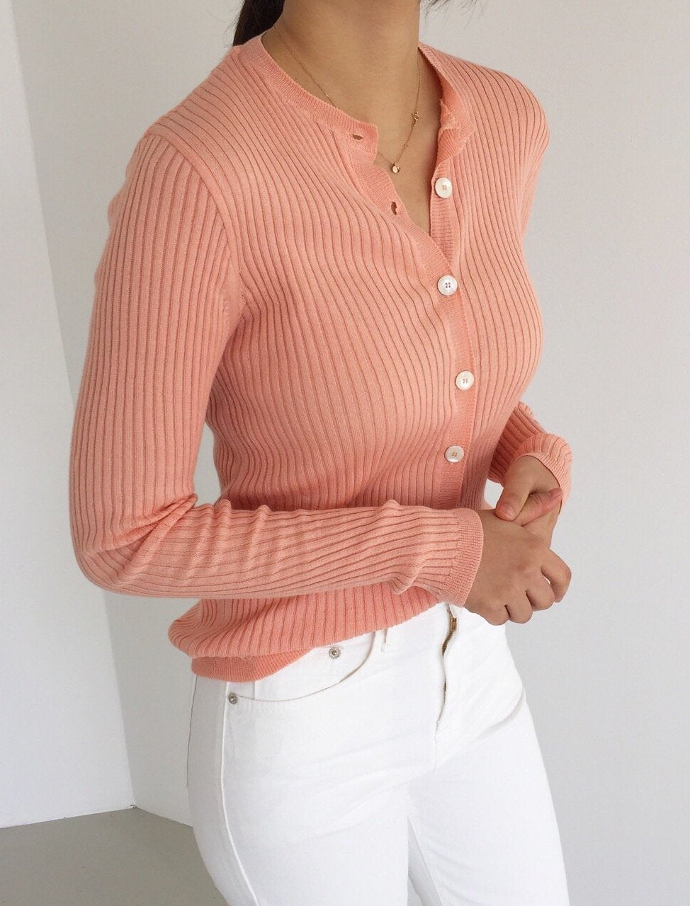 Ribbed Sweater With Buttons - LOCOLIPS