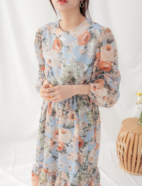 Long Sleeve Floral Dress | Korea Fashion Women's Texas | LOCOLIPS
