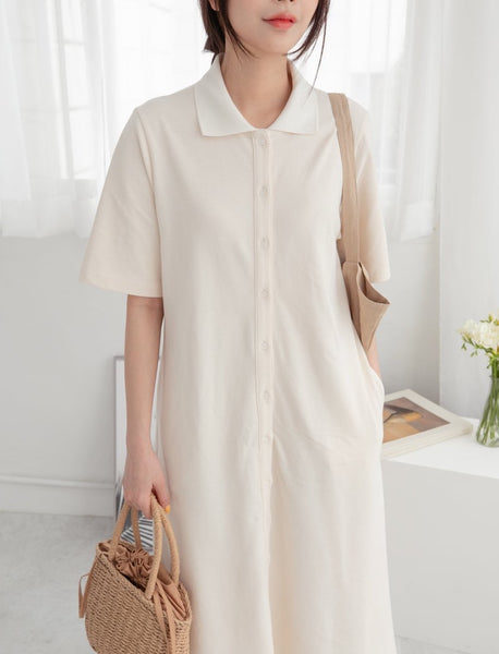 Long Button Up Shirt Dress | Korea Fashion Vancouver | LOCOLIPS