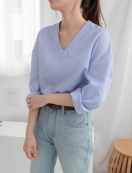 Stripe V Neck Blouse | Korea Fashion Trends Women's Canada | LOCOLIPS