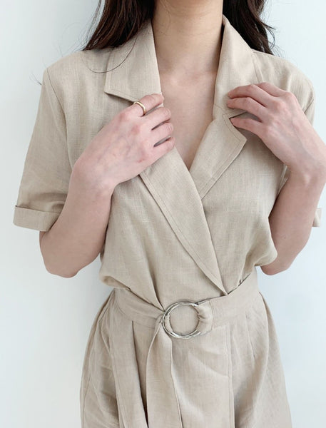 Linen jumpsuit with belt - LOCOLIPS