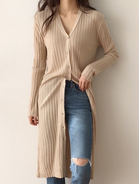 Ribbed Long Sweater Dress LOCOLIPS