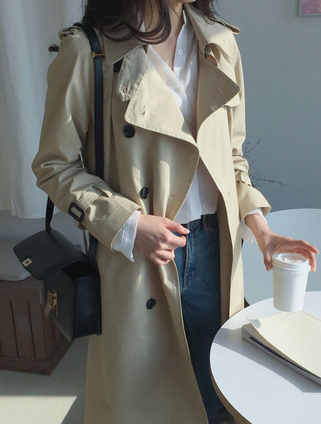Cotton Trench Coat With Belt (2 Colors)
