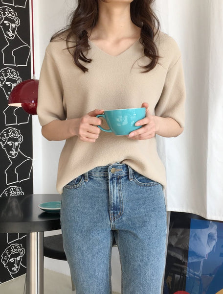 V Neck Short Sleeve Sweater for Women | shopping with DHL