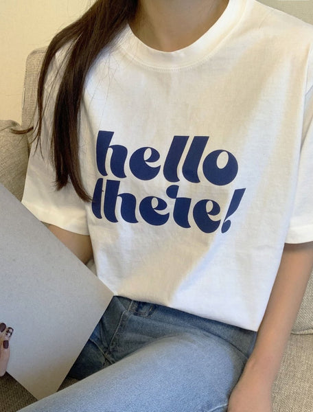Tumble Washing T-Shirt With Printed Hello LOCOLIPS
