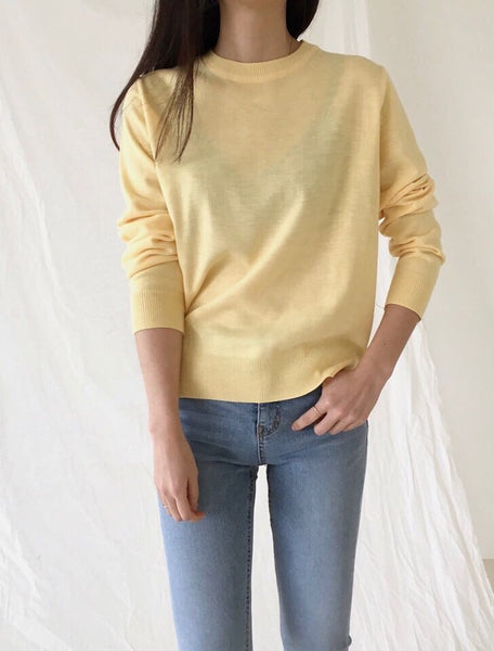 Basic Round Neck Sweater Locolips