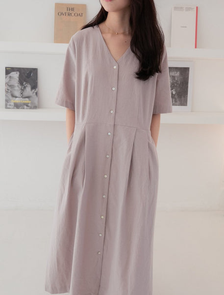 Cotton/linen casual v-neck maxi dress - LOCOLIPS