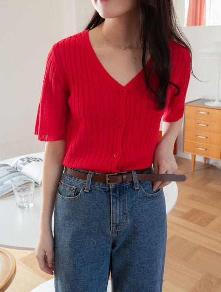Women's short sleeve ribbed sweater - LOCOLIPS