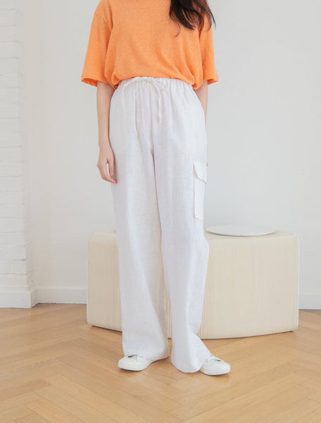 Linen pants with elastic waist - LOCOLIPS