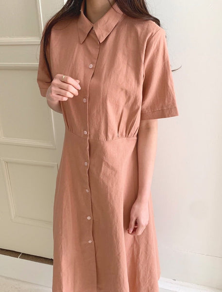 Belted pink linen dress - LOCOLIPS