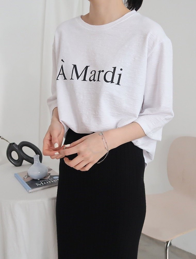MARDI PRINT LOOSE HALF T-SHIRT (4 COLORS) - LOCOLIPS