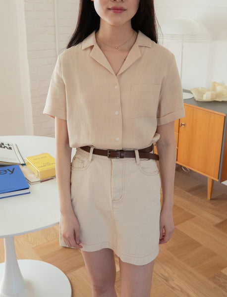 Short sleeve rayon/linen v-neck shirt - LOCOLIPS