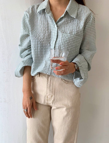 Cotton Checked Shirt With Pocket | Korea Fashion Texas | LOCOLIPS