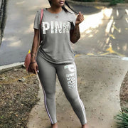 Women Two Piece Set 2019 Summer Pink Letter Print Tracksuits