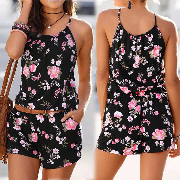 Womens Holiday Mini Playsuit Ladies Printed Summer Shorts Jumpsuit