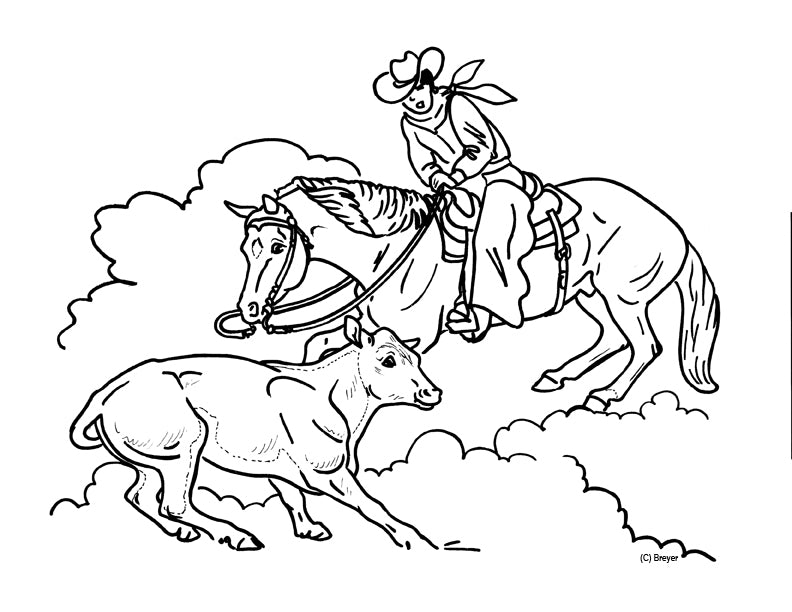 Cutting Horse Coloring Page Breyerhorses Com