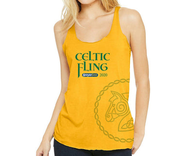 Ladies Celtic Fling Logo Side Print Tank Apparel Breyer Small Gold