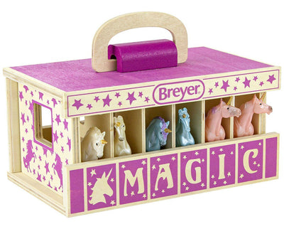 Unicorn Magic Wood Carry Stable with 6 Unicorns Model Breyer