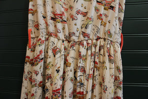 Vintage Car Print Pleated Dress