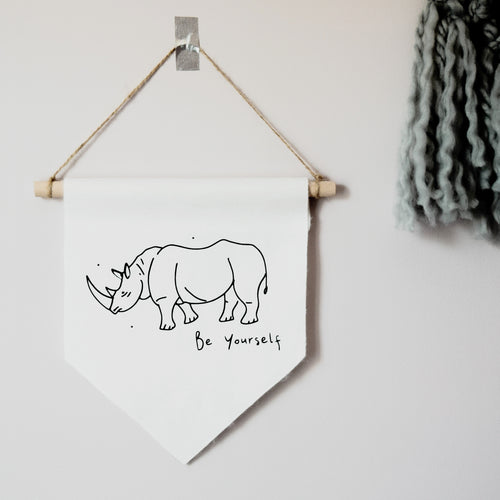 Be Yourself Rhinoceros Wall Hanging Banner flag