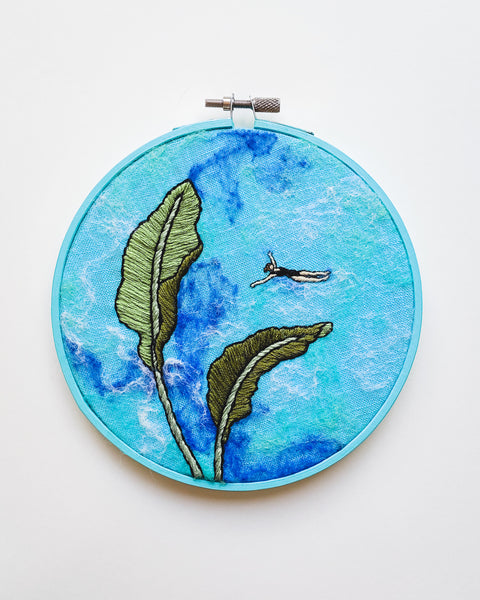 Mini Lagoon No. 31 Original Art - 6 in. hoop