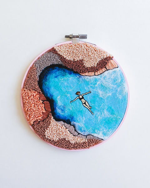 Pink Lagoon No. 2 Original Art - 6 in. hoop