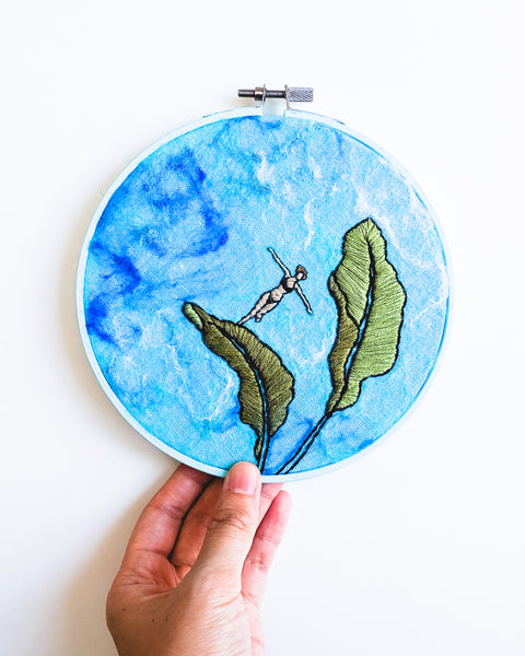 Mini Lagoon No. 32 Original Art - 6 in. hoop