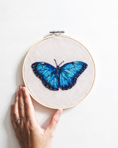 Blue Morpho no. 1 - Wool Felted Butterfly Original Art - 6 inch hoop