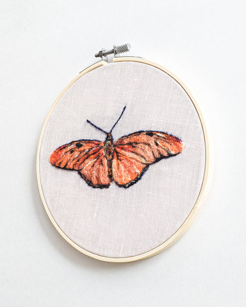 Julia Butterfly no. 1 - Wool Felted Butterfly Original Art - 6 inch hoop