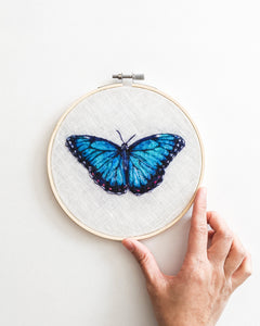 Blue Morpho no. 2 - Wool Felted Butterfly Original Art - 6 inch hoop