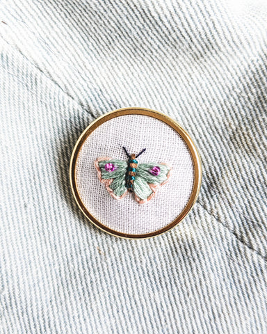Embroidered Butterfly Moth Pin - no. 2
