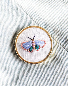 Embroidered Butterfly Moth Pin - no. 3