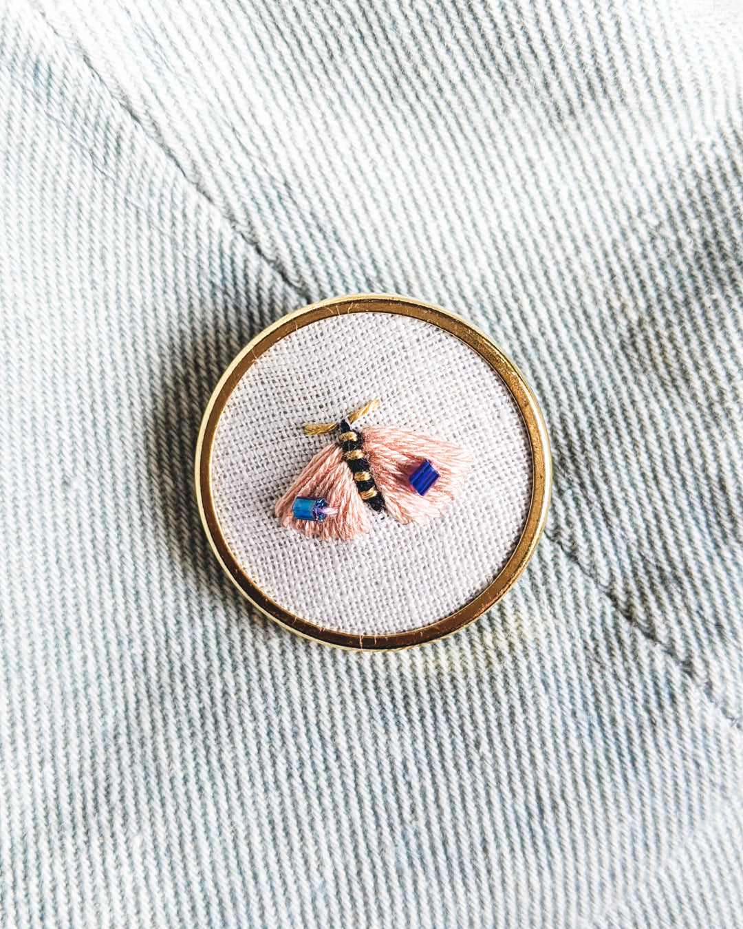 Embroidered Butterfly Moth Pin - no. 4