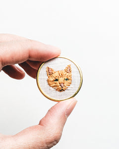 Embroidered Cat Pin - Tabby
