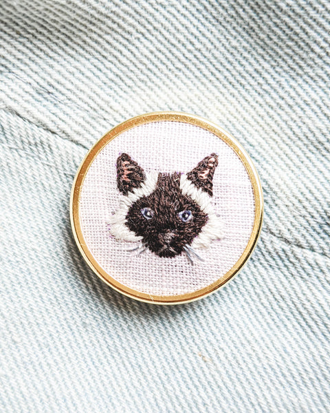 Embroidered Cat Pin - Ragdoll, seal-point, long-haired