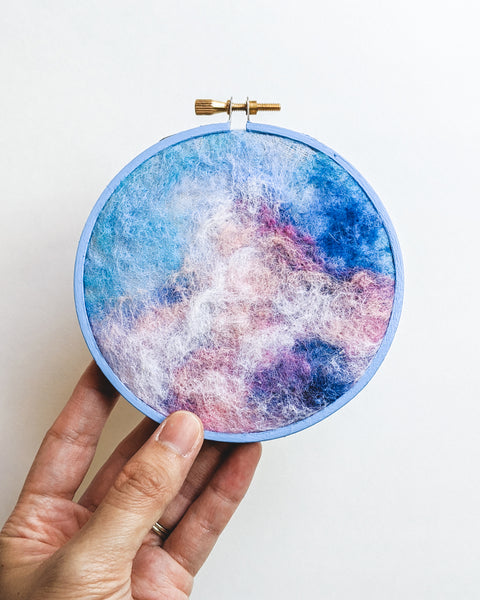 Summer Skies - Wool Felted Original Art - 4 inch hoop