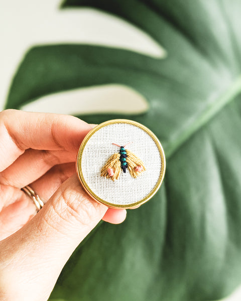 Embroidered Butterfly Moth Pin - no. 5