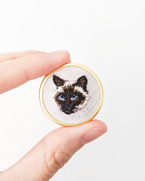 Custom Embroidered Cat Pin