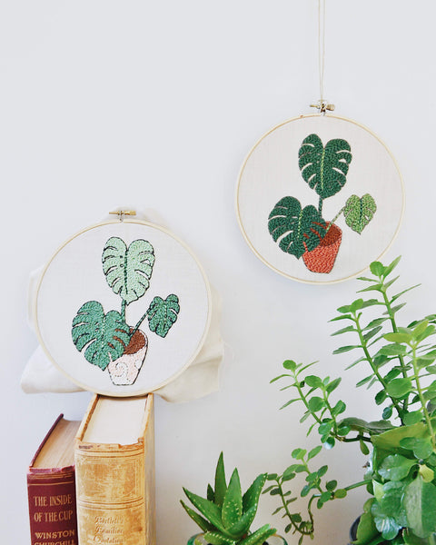 Monstera Plant Embroidery Pattern PDF